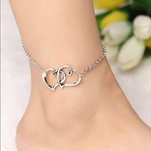 Jewelry - Silver Double Heart Ankle Bracelet